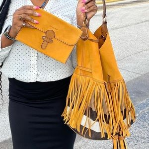 Burberry Susanna Large Fringed Canvas Suede Bag